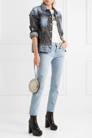 Distressed patchwork denim jacket