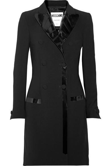 Moschino - Pvc-trimmed Crepe Mini Dress - Black