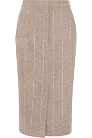 Pinstriped wool pencil skirt