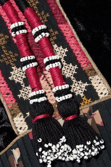 Ulla Johnson Suzana bedrucktes Maxikleid aus einer Baumwollmischung mit Samtbesatz