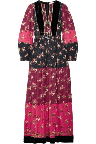 Ulla Johnson Suzana Velvet-trimmed Printed Cotton-blend Maxi Dress In Pink