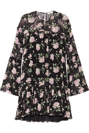 Floral-print ruffled silk-crepon mini dress