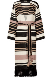 Areli fringed striped alpaca coat