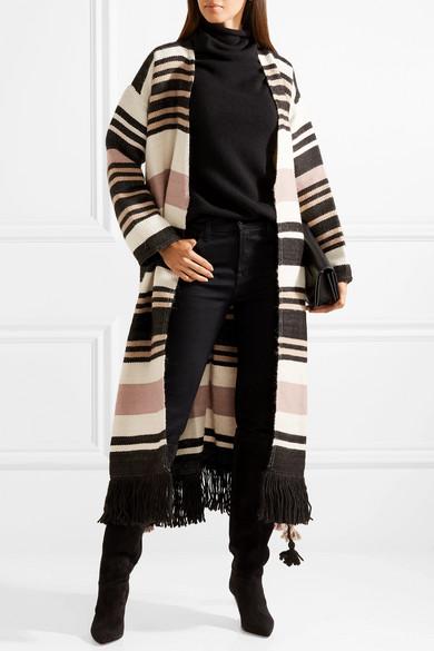Ulla Johnson Areli gestreifter Mantel aus Alpakawolle mit Fransen Rabatt Erkunden Rabatt Mode-Stil MfSYRm
