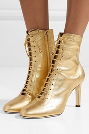 Jimmy Choo Daize 85 lace-up metallic leather boots