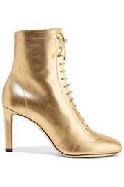 Daize lace-up metallic leather boots