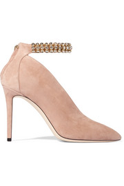 Jimmy Choo Lux 100 crystal-embellished suede pumps