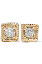 Mini Square 14-karat gold diamond earrings