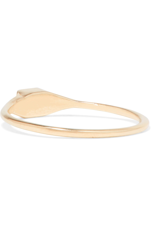 Jennie Kwon Designs Mini Deco Point 14-karat gold, diamond and emerald ring