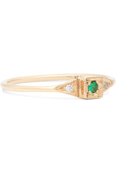 86fdf6470 Jennie Kwon Designs | Mini Deco Point 14-karat gold, diamond and ...