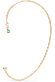 14-karat gold, diamond and emerald ear cuff