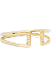 Buckle 14-karat gold diamond ring