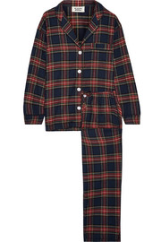 Sleepy Jones Marina plaid cotton-flannel pajama set