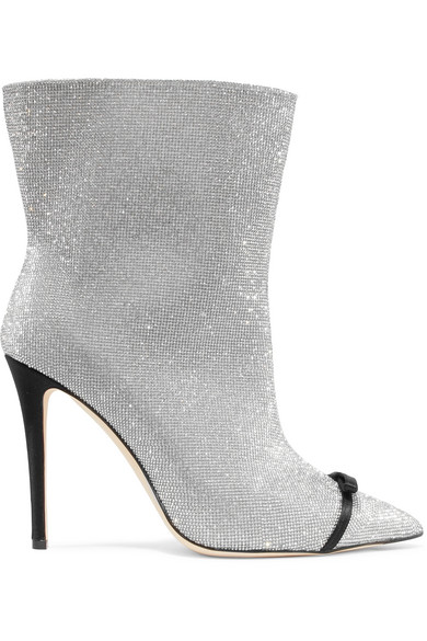 Marco De Vincenzo - Bow-embellished Perspex-trimmed Swarovski Crystal And Leather Ankle Boots - Silver at NET-A-PORTER