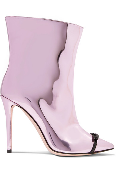 Marco De Vincenzo - Bow-embellished Perspex-trimmed Mirrored-leather Ankle Boots - Pink