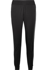 Butter satin-trimmed stretch-Micro Modal track pants