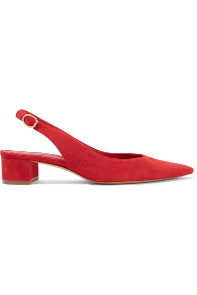Smooth Suede Slingback Pump in Red