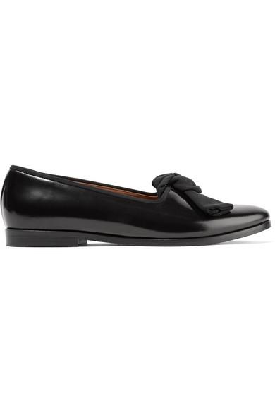 Mansur Gavriel - Embellished Glossed-leather Loafers - Black
