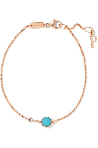 Bracelet Rose Et Possession CaratsTurquoise 18 En Diamant Or KlFcT1J