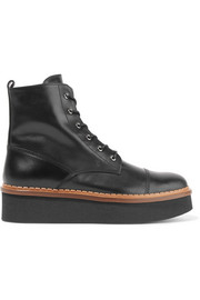Tod's Flatform lace-up leather ankle boots
