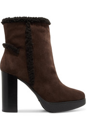 Shearling-trimmed suede platform ankle boots