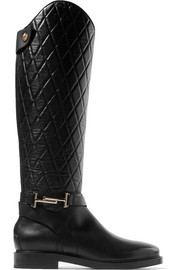 Tod's Quilted leather knee boots