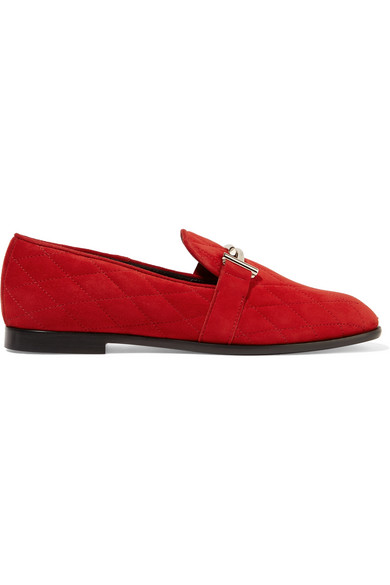 TOD'S - Quilted Suede Loafers - Claret