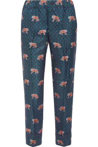 J.Crew - Easy Printed Silk-twill Straight-leg Pants - Blue