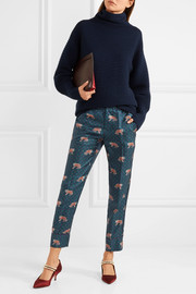 J.Crew Easy printed silk-twill straight-leg pants