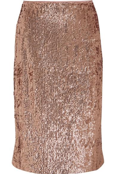 J.Crew - Sequined Crepe Skirt - Metallic