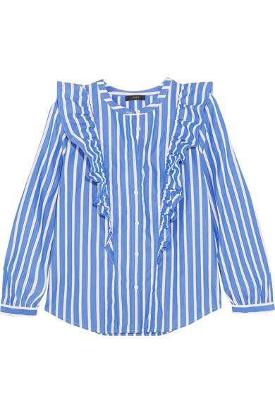 J.Crew - Magnesium Ruffled Striped Cotton-poplin Shirt - Blue