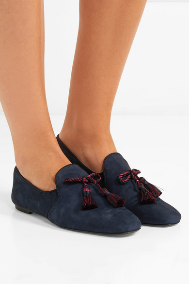 56b8ca5d0dd J.Crew. Tasseled suede loafers