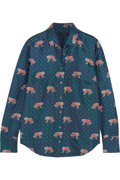 J.Crew - Printed Silk-twill Shirt - Blue