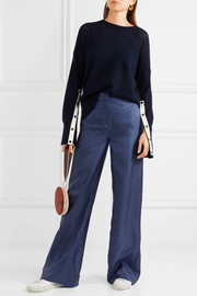 Melancholy polka-dot silk wide-leg pants