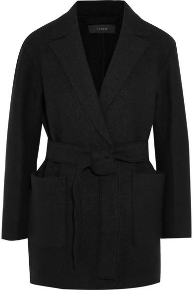 J.Crew - Sabrina Belted Boiled Wool Coat - Black