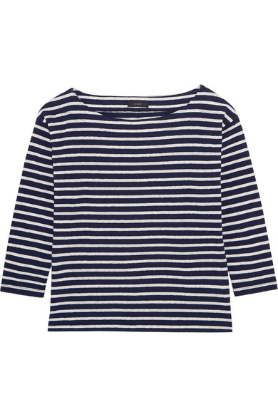 J.Crew - Striped Slub Cotton-blend Jersey Top - Navy
