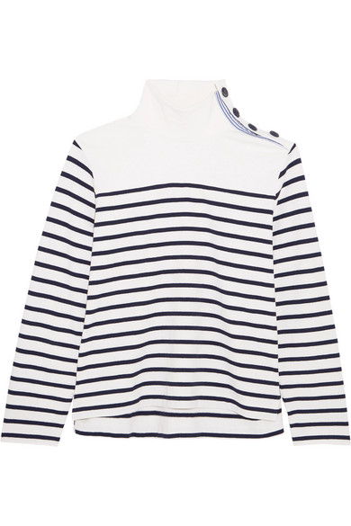 J.Crew - Button-embellished Striped Cotton Top - Navy