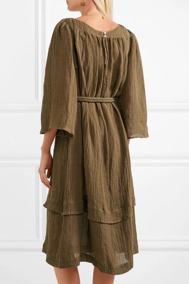Ilara Pompom-embellished Linen-blend Dress - Army green Three Graces London 818nrzAtUu