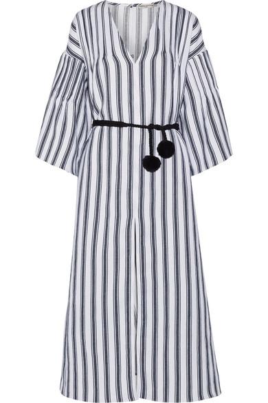 Elvira striped linen and cotton-blend dress Three Graces London W1J7N02ZPp