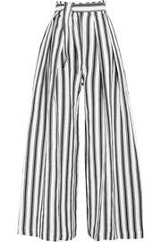 Three Graces London Rosalinda striped linen and cotton-blend wide-leg pants