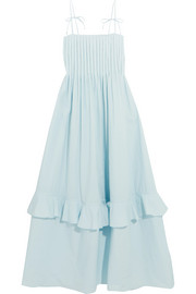 Nedda pintucked ruffled cotton-poplin dress