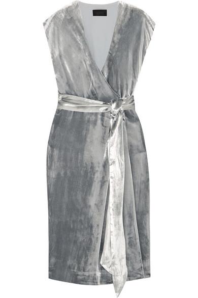 J.Crew - Frida Velvet Wrap Midi Dress - Silver