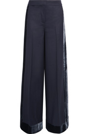 Laney velvet-trimmed wool wide-leg pants