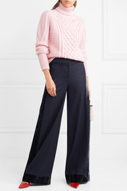 J.Crew Laney velvet-trimmed wool wide-leg pants