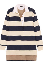 J.Crew Garret oversized striped merino wool polo top