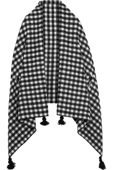 J.Crew - Tasseled Check Wool-blend Cape - Black