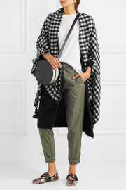 J.Crew Tasseled check wool-blend cape