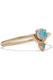 Nestled 14-karat gold opal ring