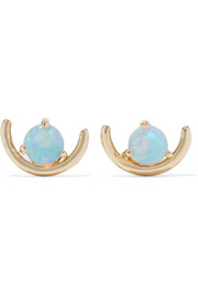 Arc 14-karat gold opal earrings