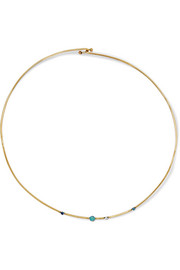 Wwake Linear 10-karat gold multi-stone necklace
